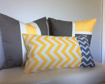 Set of 3 Color Block Pillow Covers Yellow/Gray/White