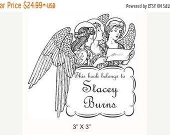 Mothers Day Sale Angels Reading Angelic Ex Libris Bookplate Rubber Stamp E25