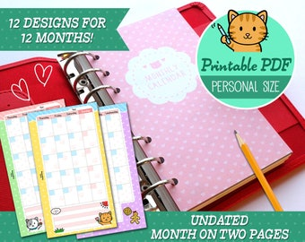 PRINTABLE Personal Size Undated Monthly Calendar Refills Cute Kawaii Kitty Filofax, Louis Vuitton, Kikki K, Kate Spade, Instant Download