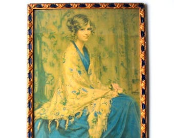 "Antique vintage 30s , original  lithograph"" Alice blue gown"", art nouveau frame under glass. Knapp Co. New York."