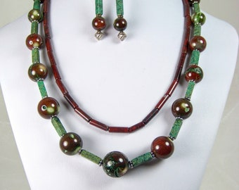Turkish Delight - near East colors in dyed Coral, Jasper and sterling Silver