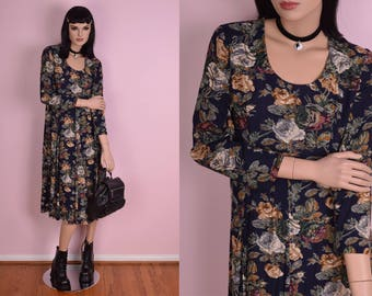90s Floral Print Flowy Dress/ US 6P/ 1990s