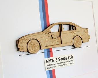 BMW 3 Series F30 Blueprint, Laser Cut Wood, BMW F30, BMW 3 Series, bmw, Automotive Art, bmw gifts, bmw wall art, bmw blueprint, 8x10 or A4