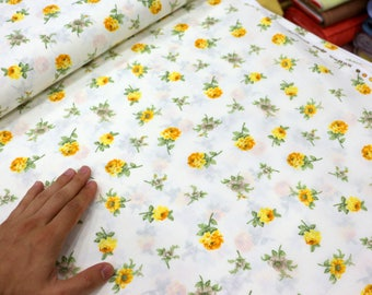 Yellow Rose  Flower, By the Yard, Red %100 Cotton Floral Fabric, Yellow  Rose fabric