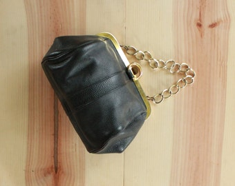 Black Leather Purse with Gold Hardware by Roger Van S