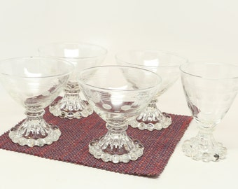 """1960's Anchor Hocking """"Boopie"""" Etched Glassware, Juice Glass (1), Dessert/Custard (4), Excellent Condition, Circle Dots and Lines Design."""