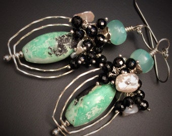 Mint Green Variscite Earrings in Sterling Silver with Green Chalcedony, Black Spinel & Keshi Pearls, Gift for Her, Contemporary Jewelry
