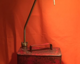 Vintage Petrol Can in Red upcycled into a fun reading lamp with adjustable beam