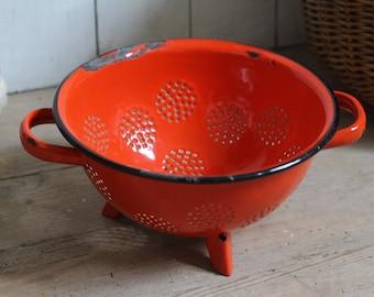 Vintage Red Enamel Colander - French Rustic Decor