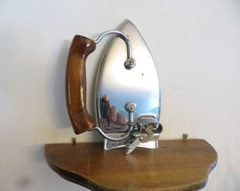 Vintage Clothes Iron, foldable travel iron display, USA