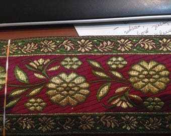 medieval gold renaissance style gold and Burgundy Brocade Ribbon trim