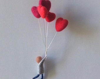 needle felted waldorf mobile boy with  balloons.