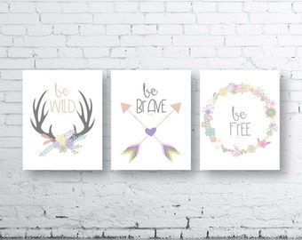 Woodland Wall Art Print Set of Three.Instant Download- Baby Girl Nursery Art Print. Be Wild Be Free Be Brave. Tribal Printable.Lavender