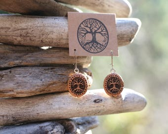 Juniper Wood Tree Earrings- Wooden Earrings- - Natural Wood Jewelry- Eco Earrings