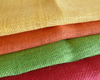 4 pieces hessian / red/yellow/orange/green/mixed media/collage