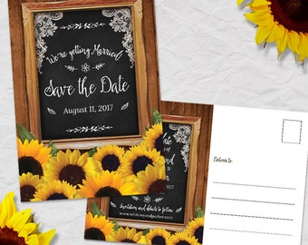 Rustic Chalkboard Frame Sunflower Save the Date Postcard or Flat Card, Printable, Evite or Printed (US Only) Postcards or Announcements