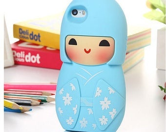 Japanese kokeshi shell turquoise soft material for iphone doll brings good luck