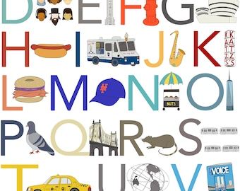 NYC Alphabet Print, Fine Art Print by Kate Durkin, Nursery Alphabet Art