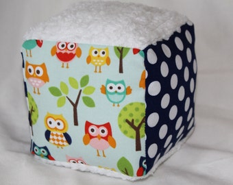 Blue Lazy Owls Chenille Block Rattle Toy
