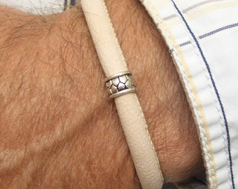 Men leather bracelet Karen hill tribe silver beige trendy ajustable man wristband gift