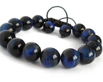 Beaded Jewelry, Gemstone Beads Bracelet, Shamballa Bracelet, Blue Tiger Eye Bracelet, Men's Beaded Bracelet, Men's Bracelet, Gift for Him