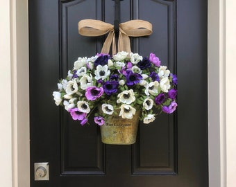 Summer Flower Wreath, Summer Flower Bouquet, Summer Flower Basket, Anemone Flowers, Wreaths for Summer, Front Door Wreath, Front Porch Decor
