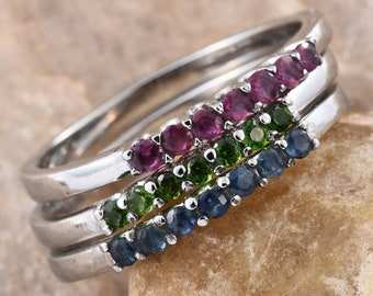 Set of # Stackable Gemstone Rings -- Size 7