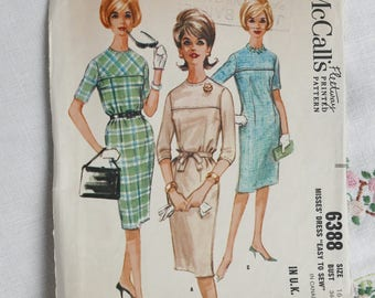 Vintage dress pattern, McCalls 6388, semi-fitted dress, size bust 36 inches, 1960s