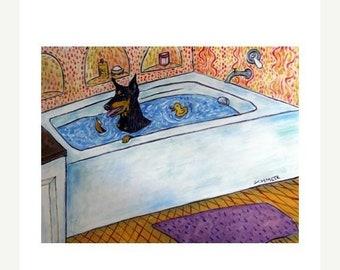 25% off Doberman Pinscher Taking a Bath Dog Art Print