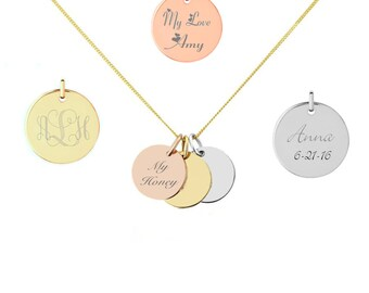 Engraved pendant etsy initial disc pendant initial disc necklace personalized circle charm engraved pendant necklace in aloadofball Choice Image