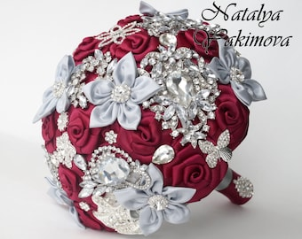 Brooch Bouquet, Bridal Bouquet, Wedding Bouquet, Fabric Bouquet, Unique Wedding Bridal Bouquet, Marsala and silver, Midnight in Paris