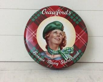 Vintage 1950s Crawfords Biscuit Tin~Bonnie Mary Shortbread~Scottish Tartan~