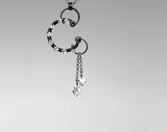 Swarovski Crystal Pendant, Industrial Pendant, Swarovski Necklace, Crystal AB Swarovski, Bridal Jewelry, Statement Pendant, Hyrrokkin v8