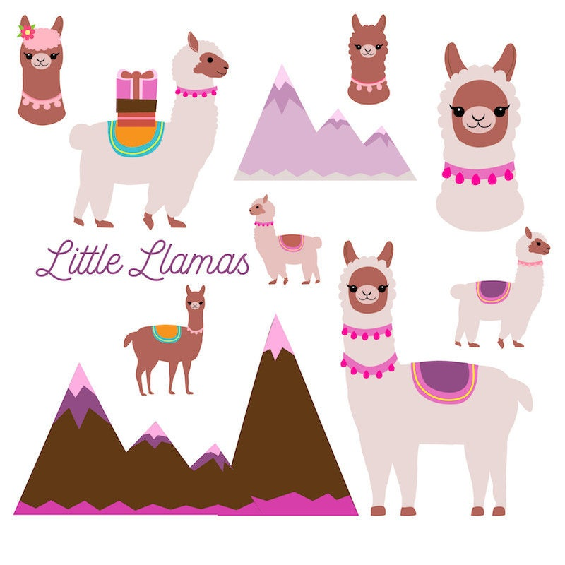 Llama clipart, cute llamas clip art, burro, birthday card ...