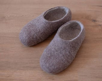 Felted natural wool slippers, felted shoes, house shoes, wool slippers
