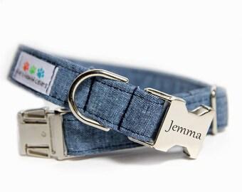 Blue Jean Linen Dog Collar, Wedding Dog Collar, Blue Jean Linen