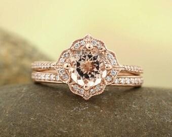 AAA Morganite Engagement Ring Set  Diamond Wedding Ring Set Vintage Floral style In 14k Rose Gold Gem1224