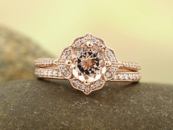 AAA Morganite Engagement Ring Set Diamond Wedding Ring Set Vintage Floral  Style In 14k Rose Gold Gem1224