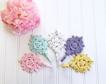 Set of 3 Shabby Chic Wall Hooks - Coat Hooks - Decorative Wall Hooks - Towel Hooks - Bathroom Decor - Nursery Decor - French Country Hooks