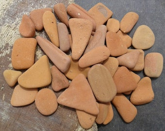 43 pottery pieces 0.7''- 2.3'' [1.8-5.8cm]. Natural sea pottery. Terracotta beach pottery for various crafts and decoration.