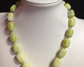 Lemon Jade Gemstone Bead Chunky Necklace - Chunky Stone Necklace, Lemon Jade Jewelry, Nugget Necklace, Beaded Necklace, Boho Necklace