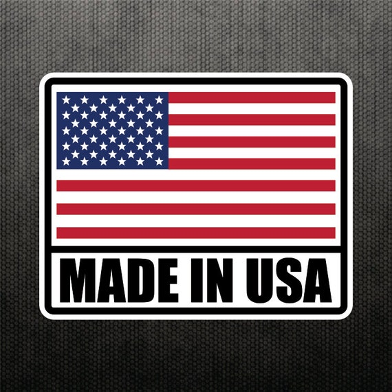 Made in usa america sticker vinyl decal united states flag