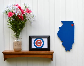 """Chicago Cubs """"State Heart"""" wall art, handcrafted wood with official team colors"""