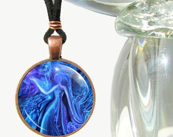 "Blue Necklace, Meditation Reiki Tool, Lightworker Energy Art ""The Healer"""