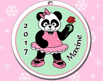 Ballerina Panda Christmas Ornament - Personalized