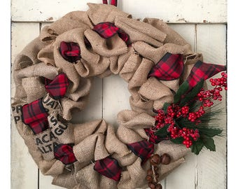 Recycled Coffee Bean Bag Burlap Large Holiday Wreath - Red and Black Plaid