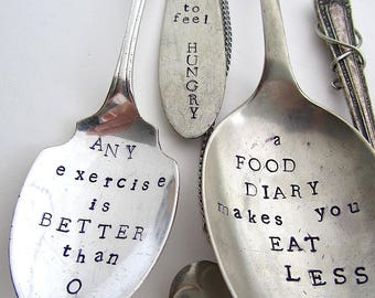 Diet Advice Windchime, Upcycled Vintage, Hand Stamped Silverware, Flatware Wind Chime, Handstamped Cutlery, Motivational, Kitchen Mobile