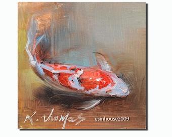 goldfish Koi fish animal Brocade carp Originals oil painting Impressionist