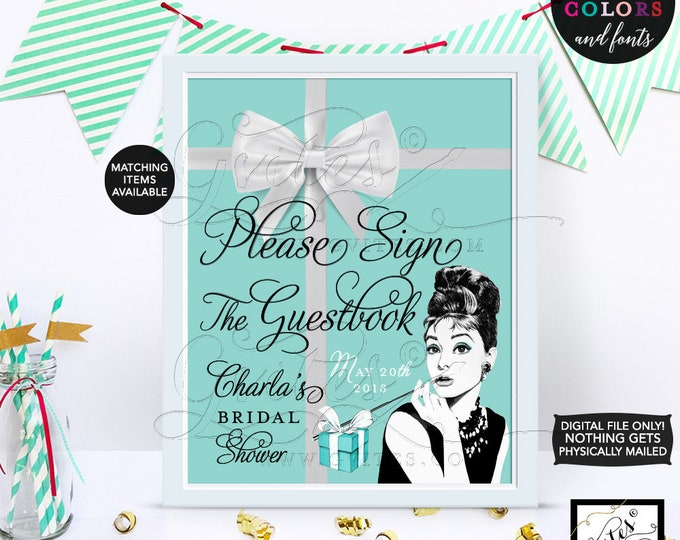 Custom Audrey Hepburn GUESTBOOK poster sign, please sign our guest book, decor, breakfast at, and co blue theme, 8x10 CUSTOMIZABLE