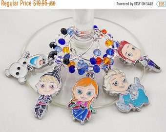 Disney Glass Frozen inspired wine glass charms set of 5 Disney charms handmade wine charms party Disney wine charms